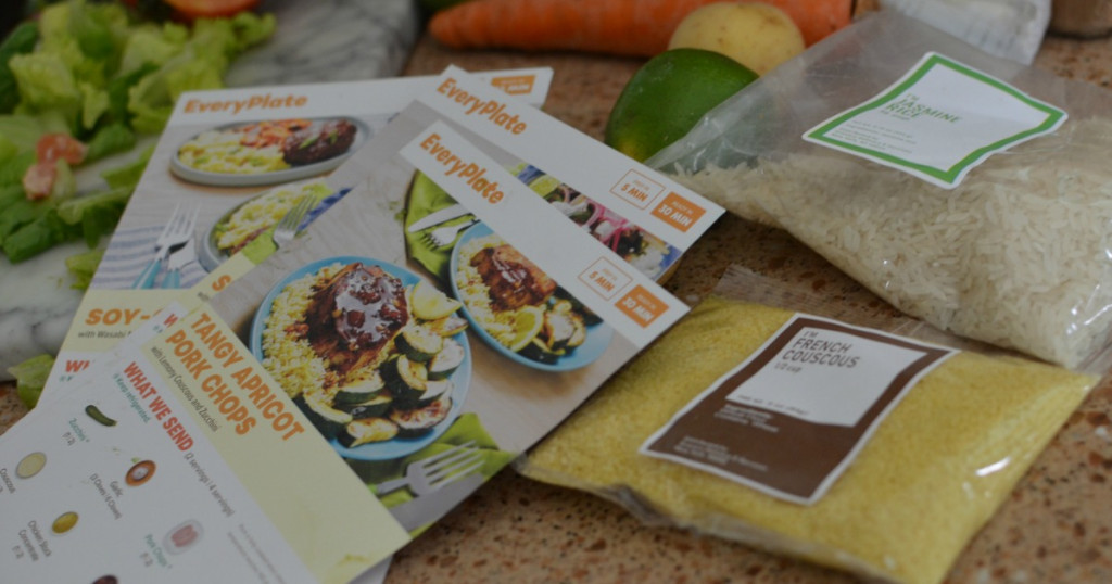 Everyplate recipe cards with dry ingredients