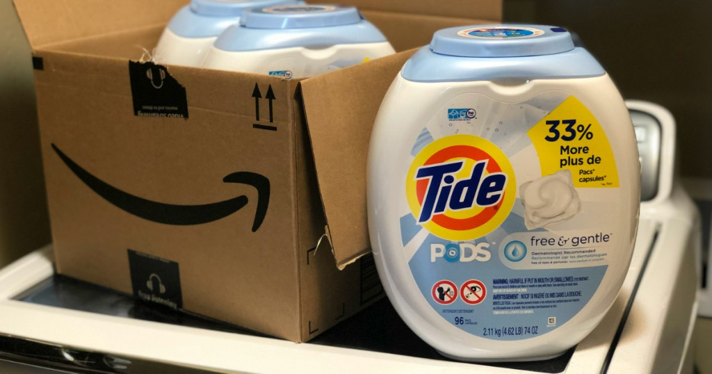 Tide Pods Free & Gentle container on laundry machine