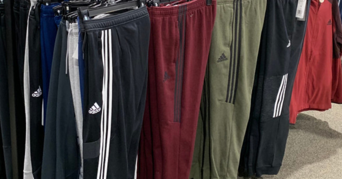 adidas pants hanging in-store